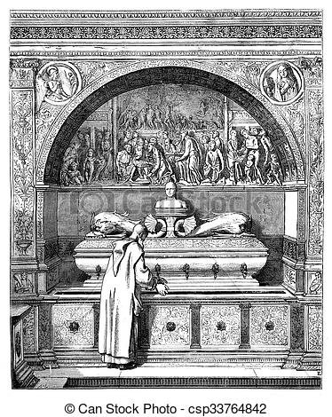 Drawing of The fountain of the Monks, has the Certosa of Pavia.