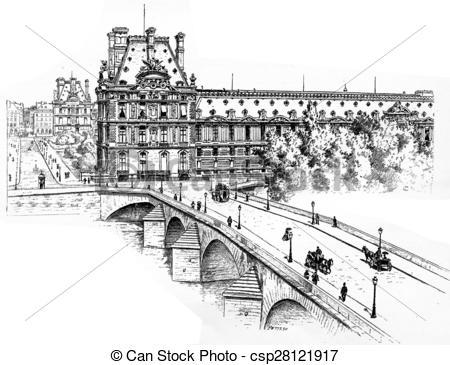 Clipart of The Pavillon de Marsan, the Pavillon de Flore and the.