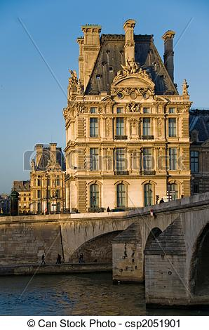 Stock Photography of Louvre Museum (Pavillon de Flore) at sunset.