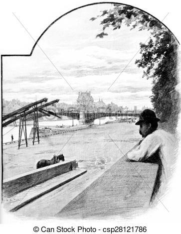 Stock Illustration of Pont de Solferino and Pavillon de Flore.