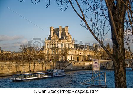 Stock Photo of Louvre Museum (Pavillon de Flore) and Seine River.