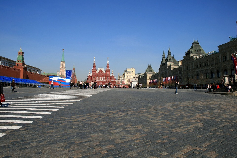 Free photo Moscow Pedestrian Lines Paving Red Square.
