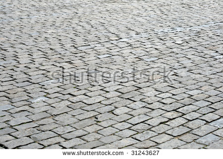 Cobblestone Pavement, Red Square, Moscow, Russia Stock Photo.