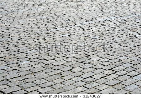 Cobblestone Pavement, Red Square, Moscow, Russia Stock Photo.
