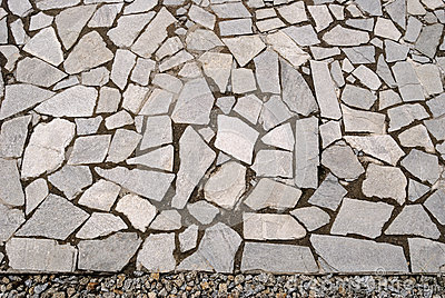 Garden Rock Pavement With Pebbles Stock Photo.