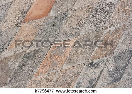 Picture of Very old paved church floor background.