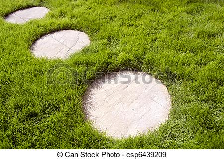 Stock Photographs of Circular paving stones and grass..