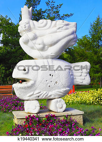 Stock Photography of Modern sculpture of mermaid in Pavlodar.