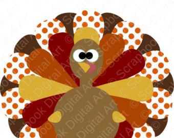 Colorful Turkey Digital Clip Art by ScrapbookDigitalArt on Etsy.