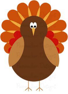 Colorful Turkey Digital Clip Art, Thanksgiving Turkey, Turkey Clip.