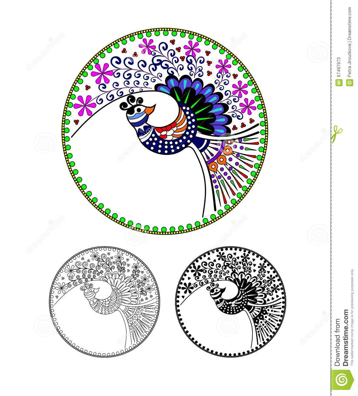 Pavo Cristatus. Peacock, Peafowl, Cartoon Image. Black And White.
