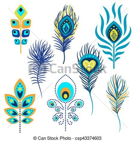 pavo real, vector, plumas, clipart., ilustración.