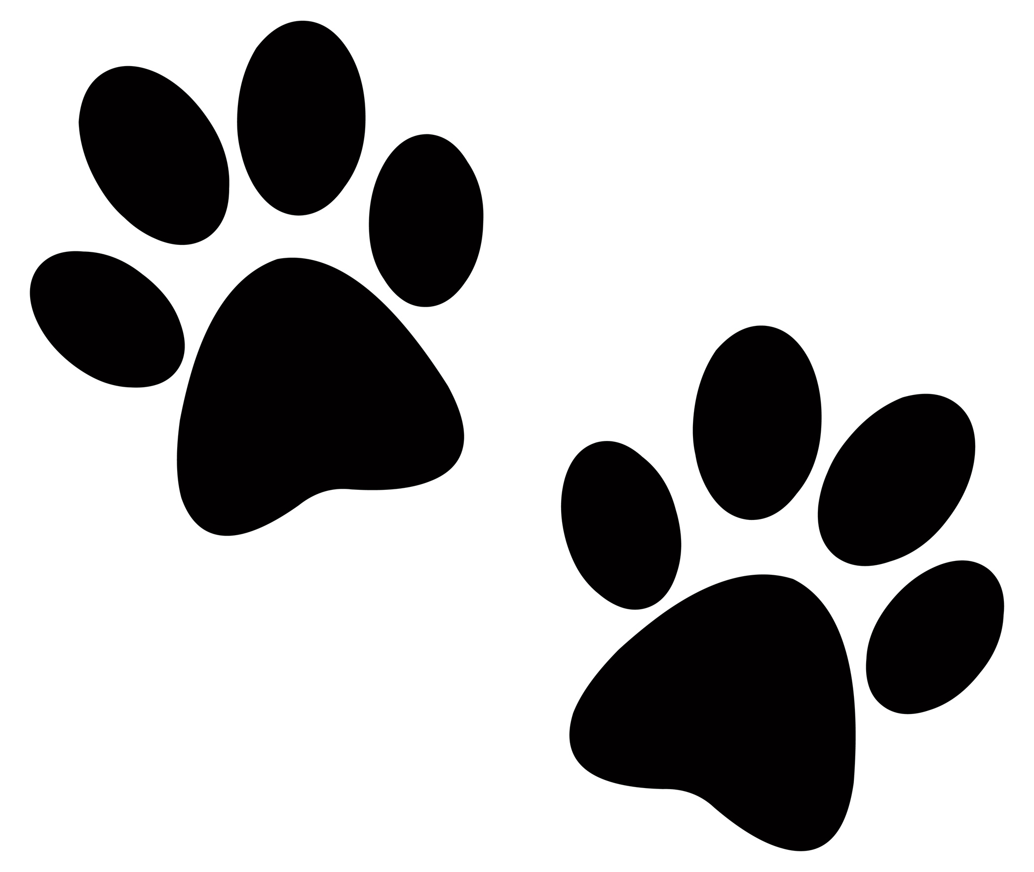 69+ Paw Print Clip Art Black And White.
