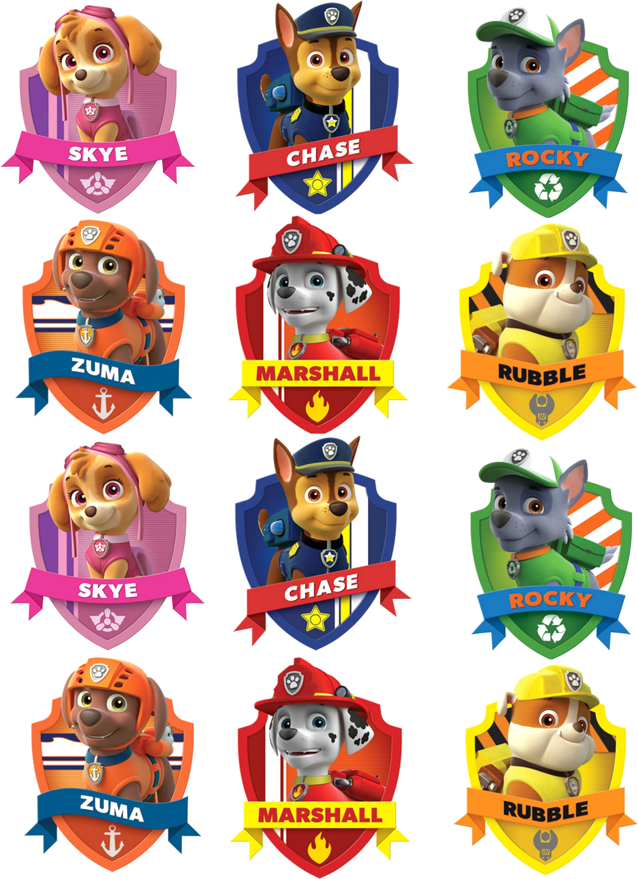Paw Patrol Characters Badges , Transparent Cartoon.