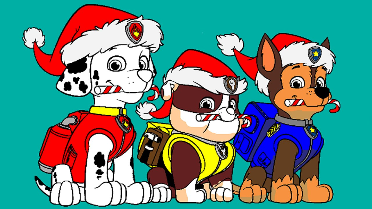 Paw Patrol Christmas Coloring Pages.