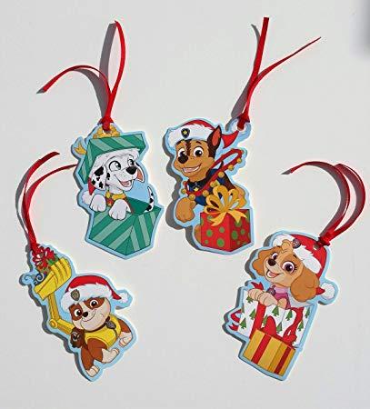 Paw Patrol Christmas Gift Tags with Ribbon.