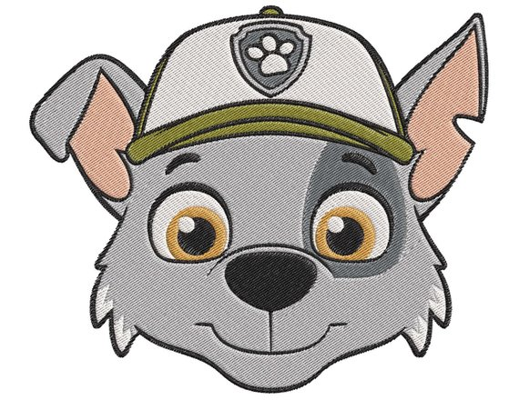 paw patrol Rocky Face Embroidery Design.