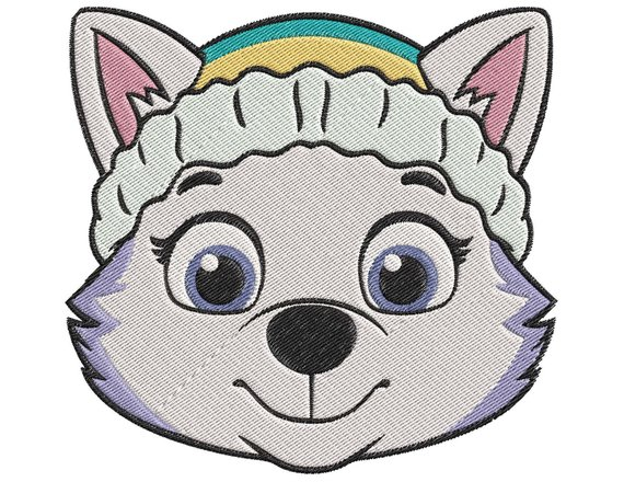 paw patrol Everest Face Embroidery Design in 2019.