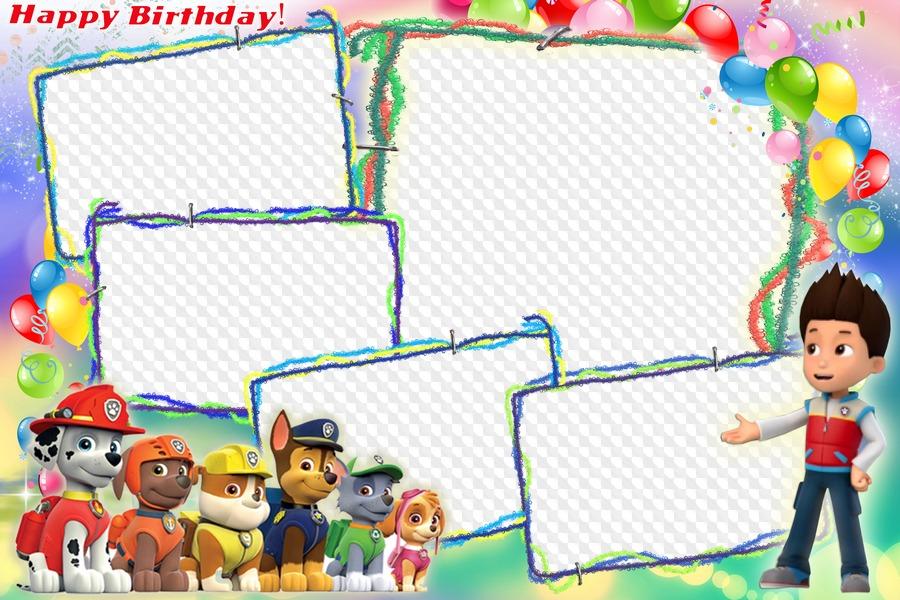 PAW Patrol, Happy Birthday! photo frame. Transparent PNG.