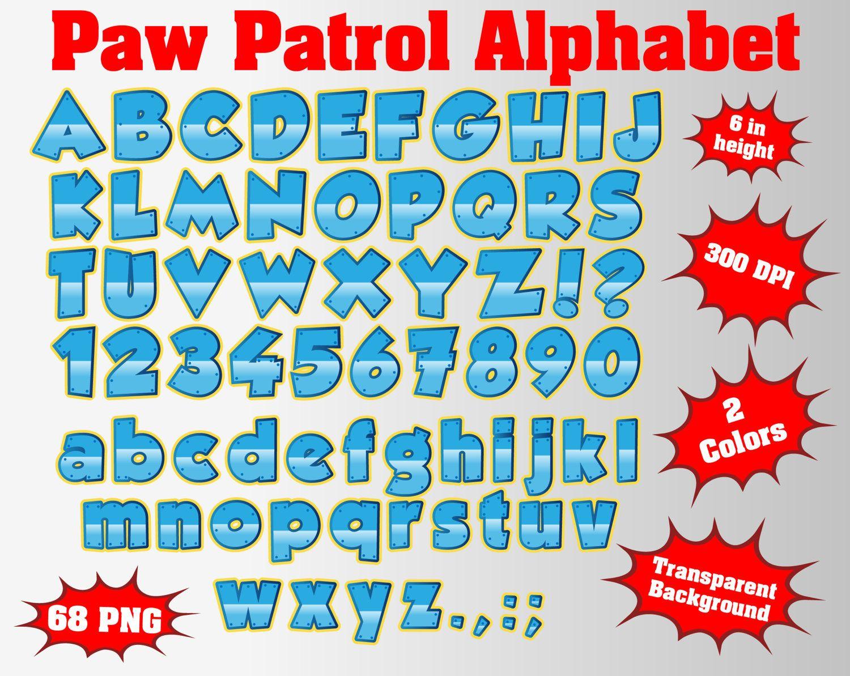 Paw Full Patrol Alphabet, Numbers and Symbols.