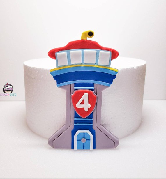 Handmade fondant Paw Patrol lookout tower cake topper in.