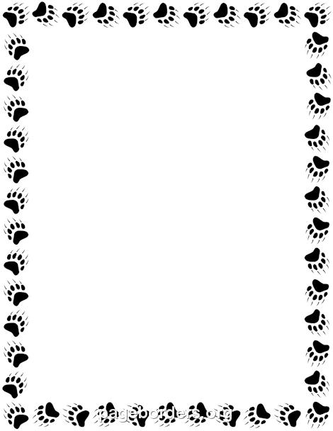 Bear Paw Print Border: Clip Art, Page Border, and Vector.