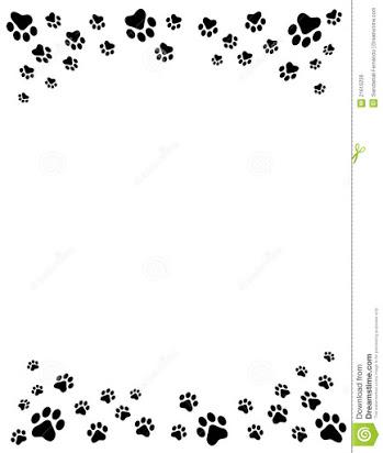 Free cat paw print border clip art.