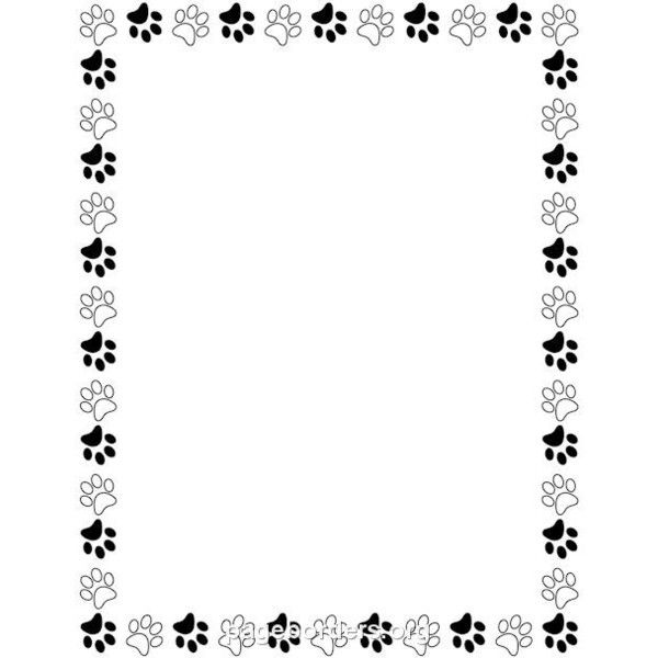 Black and White Paw Print Border: Clip Art, Page Border, and.