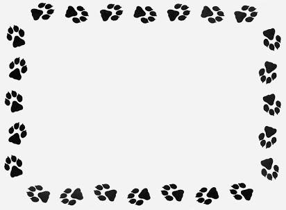 Free clip art paw prints border.