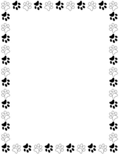 Black and White Paw Print Border PNG.