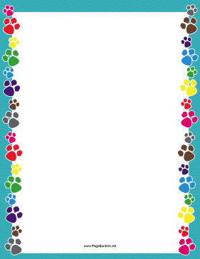 Colorful Paw Print Border.