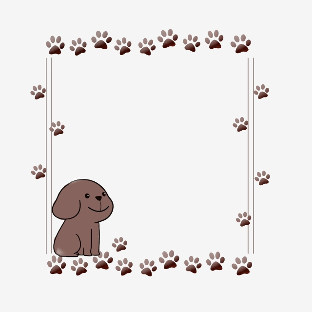 Cute Dog Paw Print Border, Cute, Dog PNG Transparent Clipart.