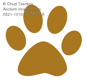 Clipart Image of A Brown Cartoon Dog Paw Print.