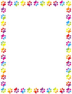 Rainbow Paw Print Border.