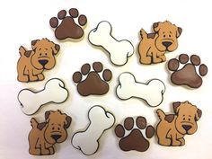 Dog bone and paw print cookie cutters made these adorable sugar.