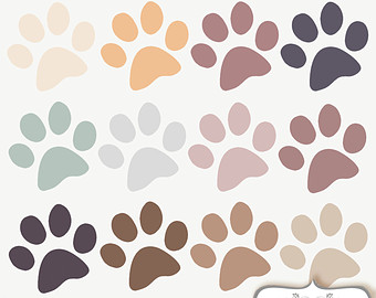 50 rainbow colors Paw Print cliparts, pet Clip Art. Dog / Cat paws.