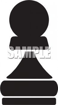 Royalty Free Clip Art Image: Silhouette of a Pawn Chess Piece.