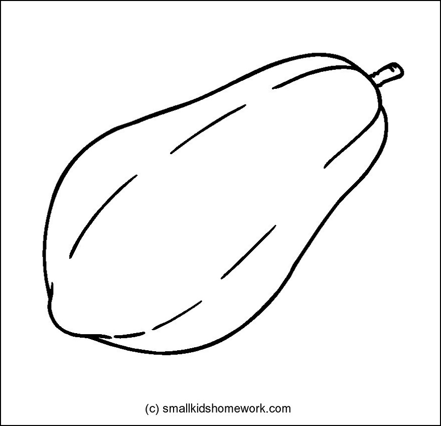 Papaya Fruit Clipart Black And White.
