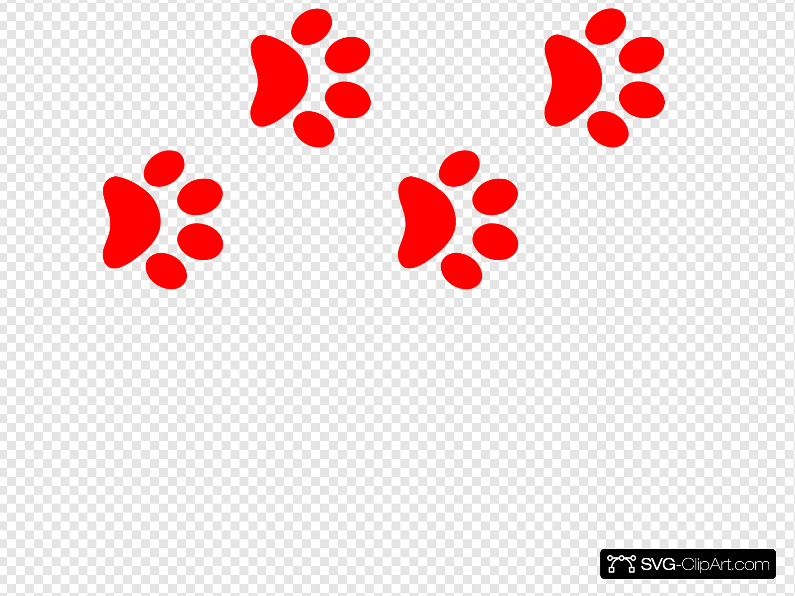 Red Paw Print Border Clip art, Icon and SVG.