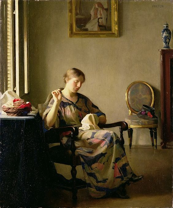 WOMAN SEWING. Artist: William McGregor Paxton.