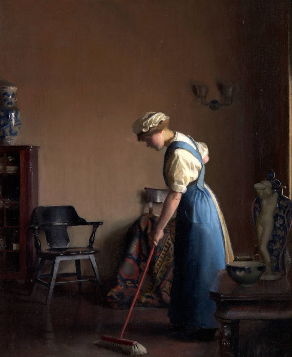 William M. Paxton : Girl Sweeping c1912 Giclee Fine by Renfields.