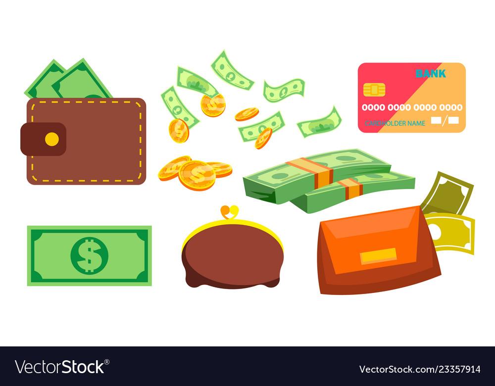 Wallet money coins purse bill online.