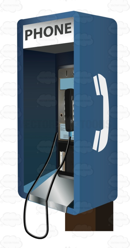 Blue Payphone With Change Slots Cartoon Clipart.