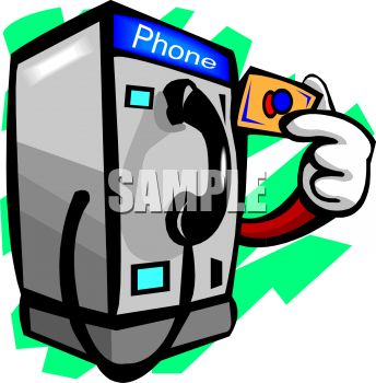 Cartoon of a Pay Phone Using a Pre.