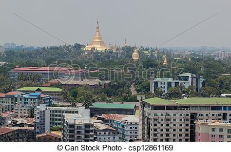Stock Image of Bird's eye view of shwedagon paya (pagoda) stupa.