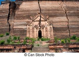 Stock Photos of Ruined Pagoda in Mingun Paya or Mantara Gyi Paya.