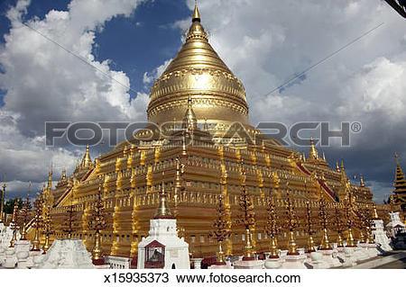 Stock Photo of Shwezigon Paya golden temple in Myanmar (Burma.