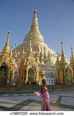 Stock Photography of woman people person women myanmar shwedagon.