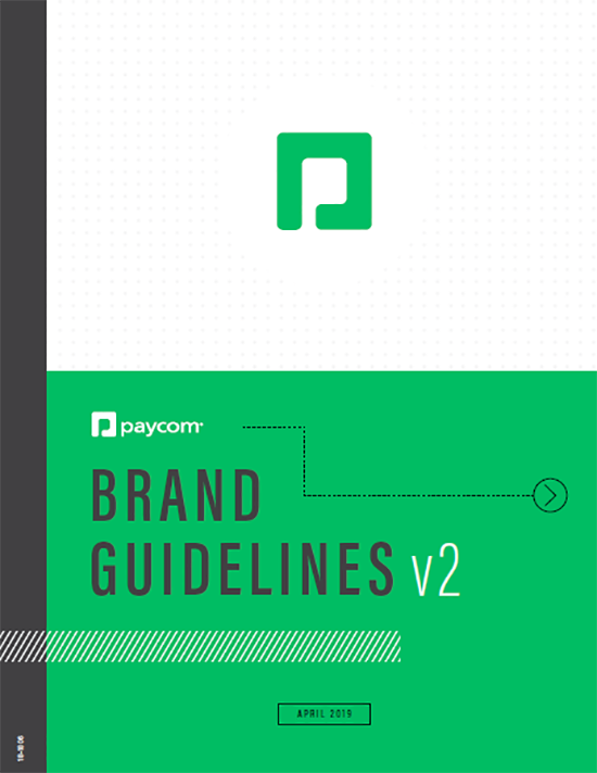 Paycom logo and branding style guide.