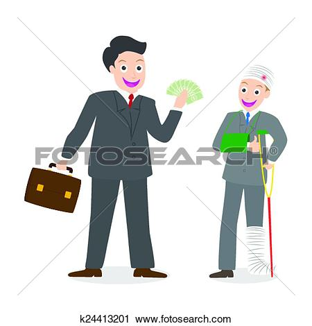 Clipart of Insurance agent paying compensation k24413201.
